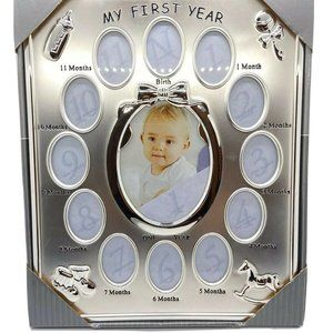 My First Year Photo Frame Prinz Brushed SilverTone